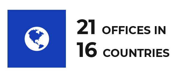 21 offices in 16 countries